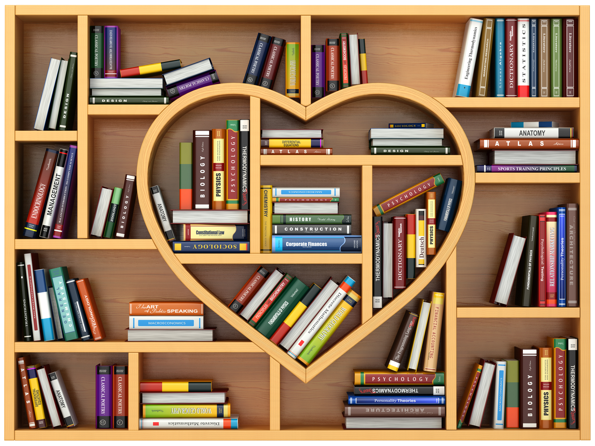 Heart book shelf filled with books
