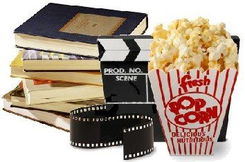 A stack of books, a movie reel and a box of popcorn